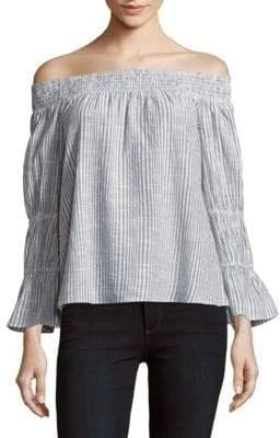 LoveShackFancy Daisy Off-The-Shoulder Neckline Striped Cotton Top