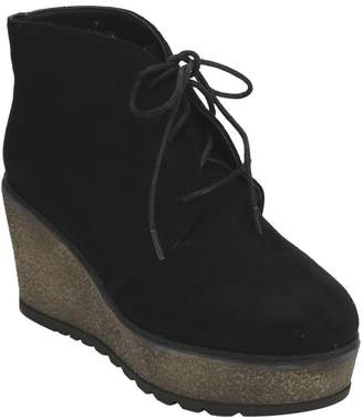 Beston EJ32 Women's Lace Up Lug Sole Platform Wedge Chukka Ankle Booties, Color:, Size:9