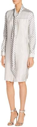 St. John Stripe Twill Shirt Dress