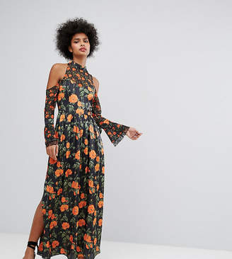 Horrockses Maxi Dress With Fluted Tie Sleeves In Floral Print