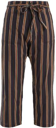 The Great The Convertible mid-rise striped cotton trousers