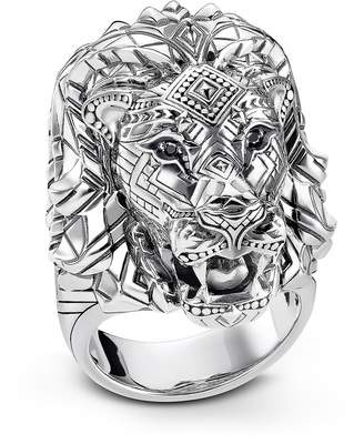Thomas Sabo Blackened Sterling Silver Lion Ring w/Black Zirconia Pavè
