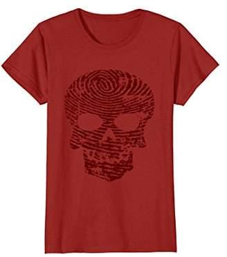 Finger Print Skull Scary Halloween Skeleton T Shirt