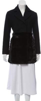 Co Mink-Trimmed Wool Coat