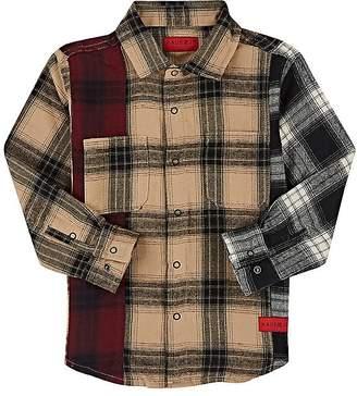 Haus of JR Stripe-Detailed Plaid Cotton Flannel Shirt