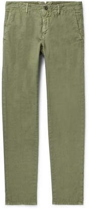 Incotex Slim-fit Linen And Cotton-blend Trousers - Green