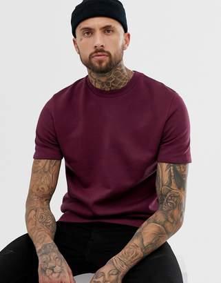 Asos Design DESIGN shortsleeve sweatshirt in burgundy