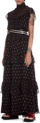 Scotch & Soda High Neck Silk Blend Maxi Dress