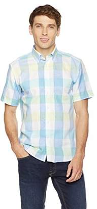 Clifton Heritage Men's Slim Fit Short-Sleeve Colorful Gingham Button-Down Casual Shirt XL