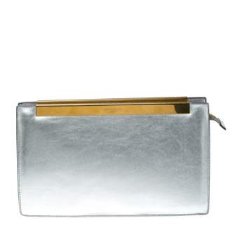 e4991539992d Saint Laurent Silver Leather Clutch Bag