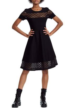 Maje Lattice Illusion Lace Detail Fit & Flare Dress