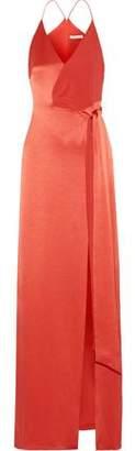 Halston Wrap-Effect Crepe-Paneled Satin Gown