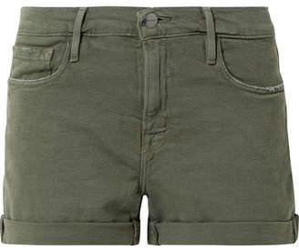 Frame Le Cutoff Denim Shorts - Army green