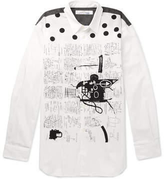 Comme des Garcons Basquiat Contrast-Trimmed Printed Cotton Shirt