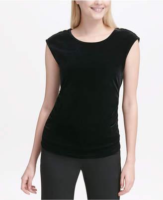 Calvin Klein Button-Shoulder Cap-Sleeve Top