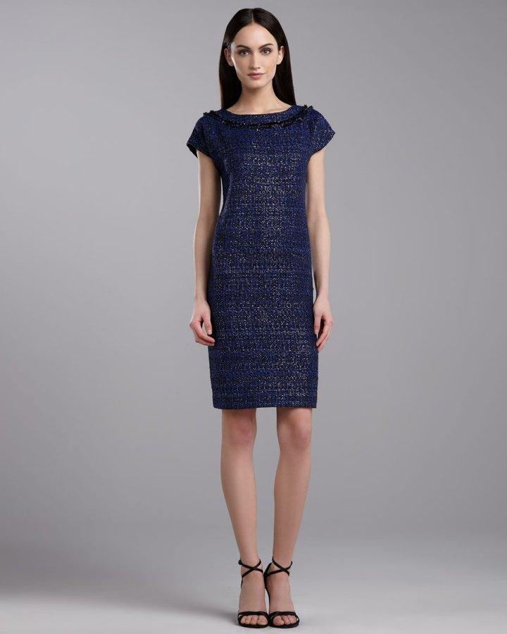 St. John Graphic Tweed Cap-Sleeve Dress, Caviar/Multi