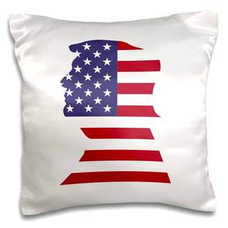 3dRose USA American Flag Stars and Stripes-Patriotic Shape-Donald Trump-White - Pillow Case, 16 by 16-inch