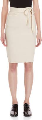 Avn Tie-Waist Denim Pencil Skirt