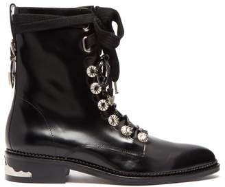 Toga Polished Leather Ankle Boots - Womens - Black