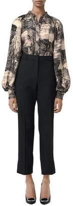 Burberry Kookaburra Dreamscape Puff-Sleeve Silk Blouse