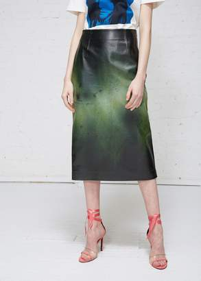 Calvin Klein Painted Leather Skirt