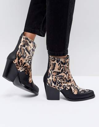 PrettyLittleThing Leopard Print Western Ankle Boot