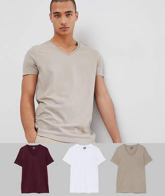 Asos DESIGN t-shirt with v neck 3 pack SAVE
