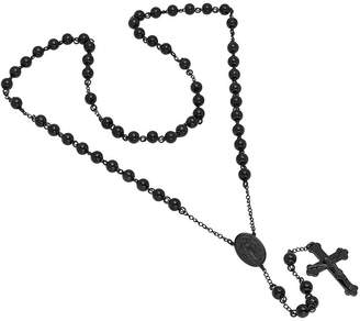 FINE JEWELRY Mens Stainless Steel Beaded Rosary Necklace