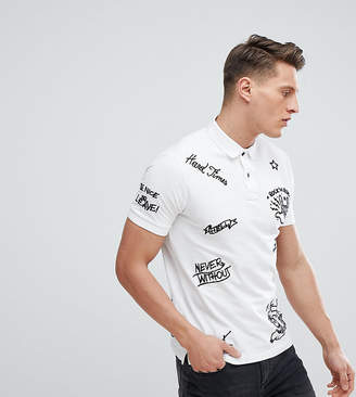 Replay All Over Embroidered Polo Shirt