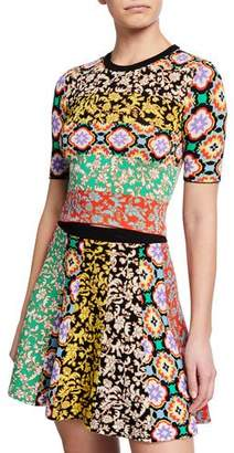 Alice + Olivia Ciara Mixed-Pattern Crewneck Sweater