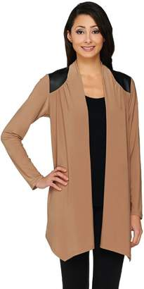 Joan Rivers Classics Collection Joan Rivers Open Front Cardigan with Faux Leather Shoulder Detail