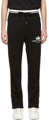 Dolce & Gabbana Black Zipper Crown Lounge Pants