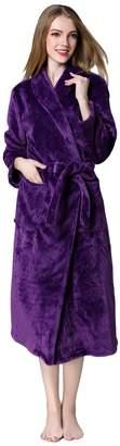 Fablight Womens Fleece Robes Bathrobes Long Soft Plush Lightweight Plus
