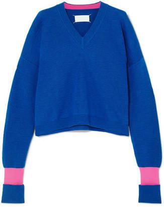 Maison Margiela Two-tone Wool-blend Sweater - Blue