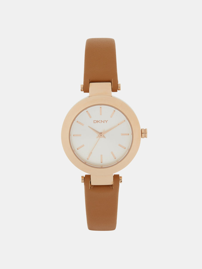 DKNY Stanhope Rose Gold Ip Tan Leather Watch
