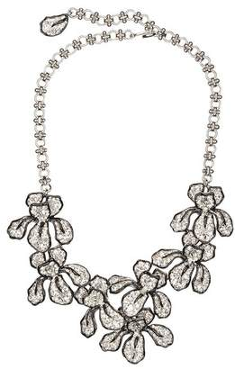 Kenneth Jay Lane Crystal Flower Necklace