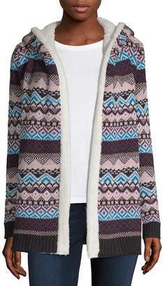 Arizona Womens Long Sleeve Pattern Cardigan-Juniors