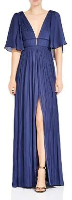 Halston Pleated Slit V-Neck Gown