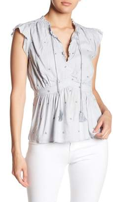 Love Sam Beckman Embroidered Stitch Split Neck Blouse
