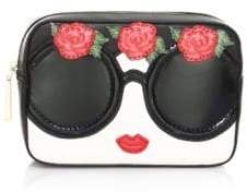 Alice + Olivia Ava Embellished Face& Flowers Travel Case