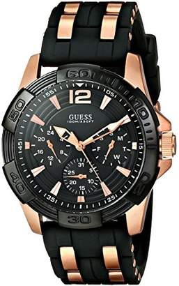GUESS Men's U0366G3 Sporty Multi-Function Watch on a Comfortable Black Silicone Strap with Rose Gold-Tone Interlinks