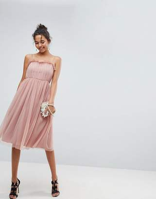 Asos DESIGN Cami Tulle Midi Dress with Pretty Ruffle