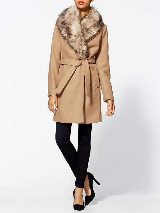 MICHAEL Michael Kors Wrap Coat With Faux Fur Collar
