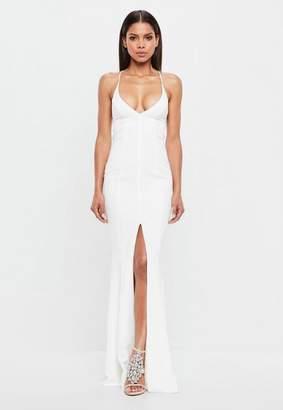 Missguided White Slip Fishtail Maxi Dress