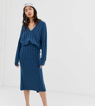 Monki ribbed midi knit skirt in blue two-piece