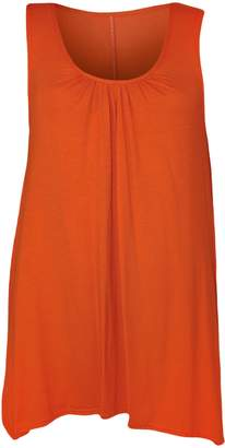 WearAll Womens Plus Size Hanky Hem Long Sleeveless Scoop Neck Vest Top - 16-18