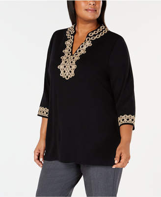Charter Club Plus Size Lace Tunic Top