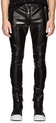 Balmain Men's Faux-Leather Biker Jogger Pants