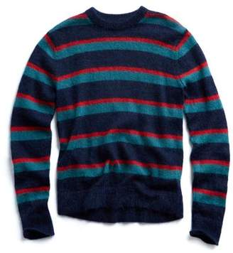 Todd Snyder Italian Brushed Wool Multi Stripe Crewneck Sweater in Blue/Red