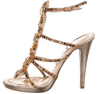 Rene Caovilla Embellished Metallic Leather Sandals
